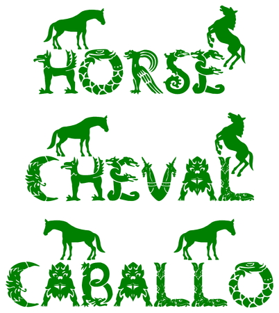 text horse in 3 languages