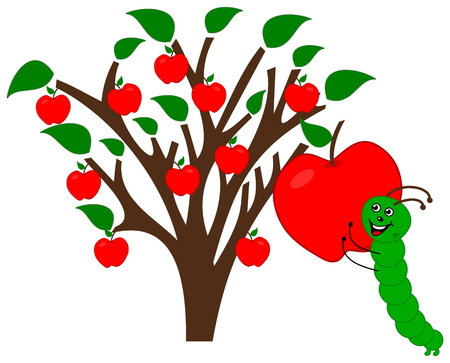 ripe apple with maggot Vector