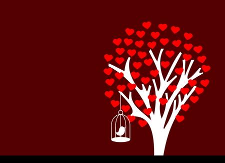 flowered tree heart with bird Vector