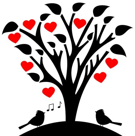 bloemrijke boom hart met zangvogel