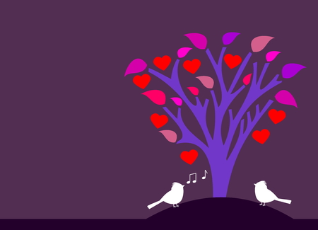 flowered: flowered tree heart with songbird Illustration