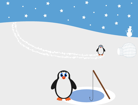 penguins at the north pole fishing Vector