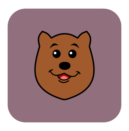 loveable: bear icon on violet background