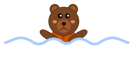 castaway: designing drowning with a teddy bear Illustration