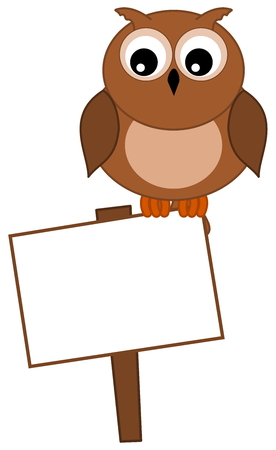 an owl looking at the sign Illustration