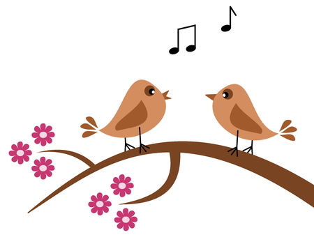 fledgeling: birds in the spring singing Illustration
