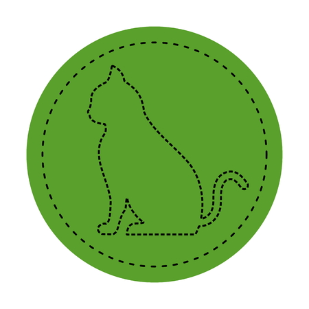 felidae: chat icon on green background Illustration