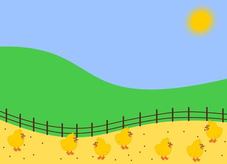 chickens in the barnyard pecking grain Illustration