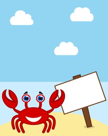 advertiser: un granchio con il segno su una spiaggia paradiso