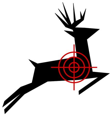 cervidae: a target for hunting deer Illustration