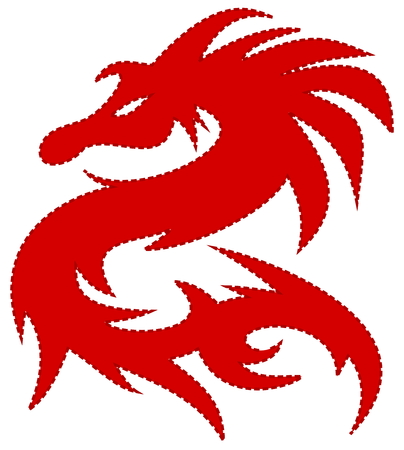 red dragon, with dash around the edges