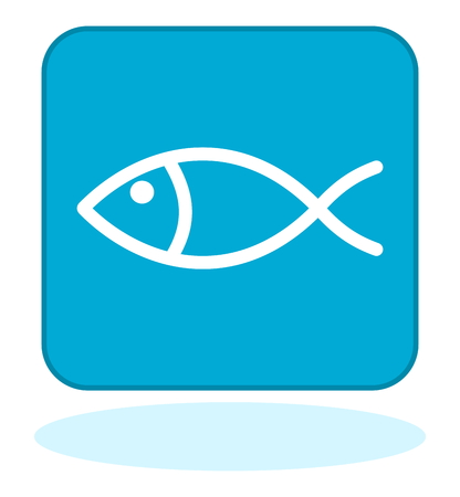 pilchard: a fish icon on blue background Illustration