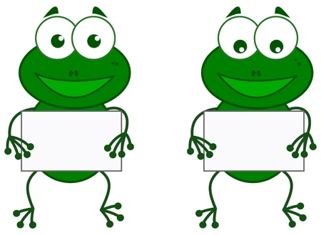 a frog with sign