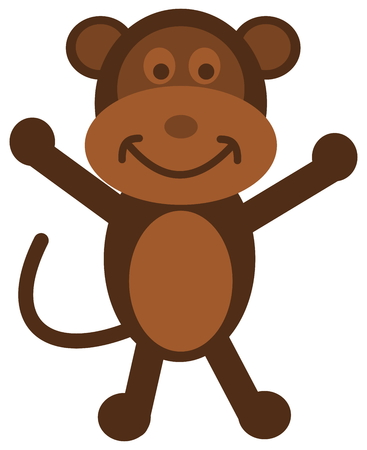 loveable: a brown monkey standing and cheerful