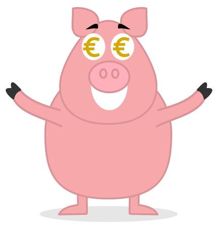 loveable: big pig standing like money