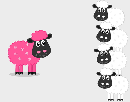 ruminate: a pink sheep with male sheep Illustration