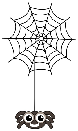 loveable: a big smiling spider with cobweb