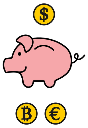 omnivores: a piggy bank in 3 currencies Illustration