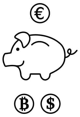 a piggy bank in 3 currencies Illustration