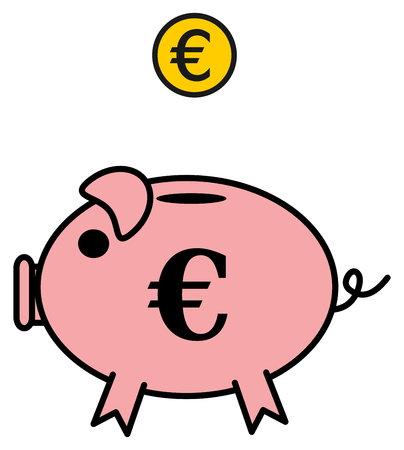 omnivores: a piggy bank euro Illustration