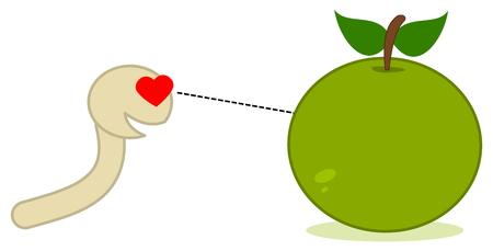 a maggot looking at an apple Vector