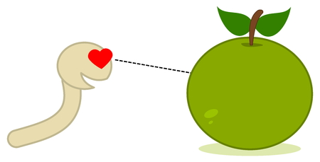 maggot: a maggot looking at an apple