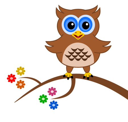 fledgeling: an owl on a branch with flowers Illustration