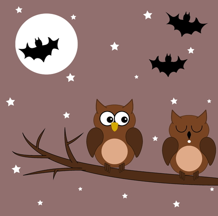 slumber: owl on a branch halloween night Illustration
