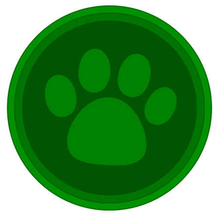 pawprint: cat dog paw green button