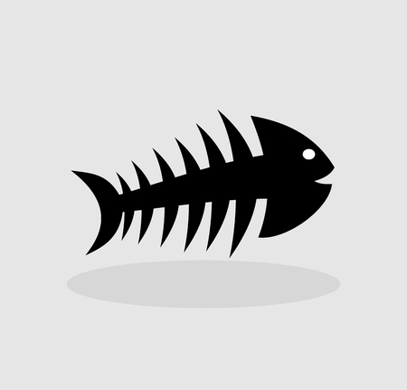 pilchard: skeleton of fish on a grey background Illustration