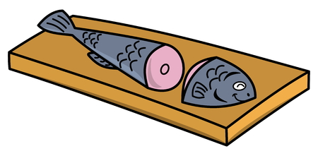 pilchard: fish cut in two on a board