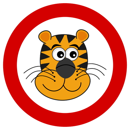felidae: tiger head smiling in road sign Illustration