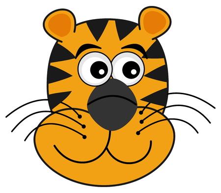 tawny: smiling tiger head Illustration