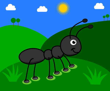ant: ant in a field with sunny day Illustration