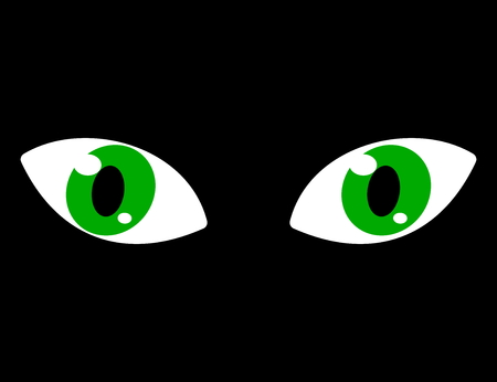 soothsayer: green eyes on a black background Illustration