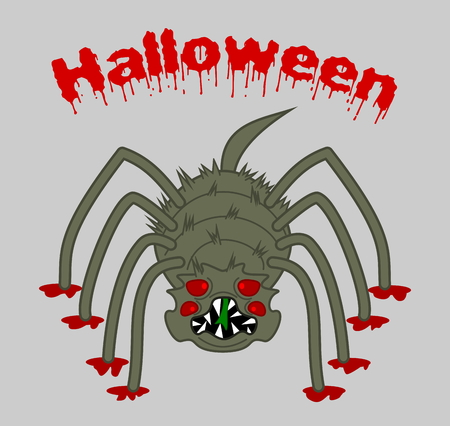 dientes sucios: una gran ara�a miedo horrible en el fondo de halloween Vectores