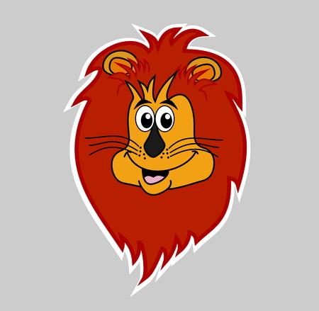 tawny: sticker lion smiling on grey background head Illustration