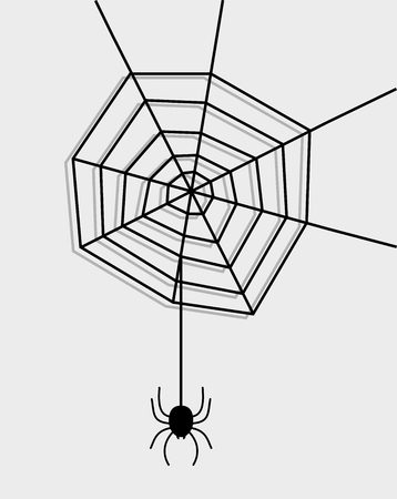 arachnophobia: a spider with its web on a gray background Illustration