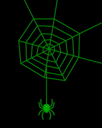 arachnophobia: a green spider on black background Illustration