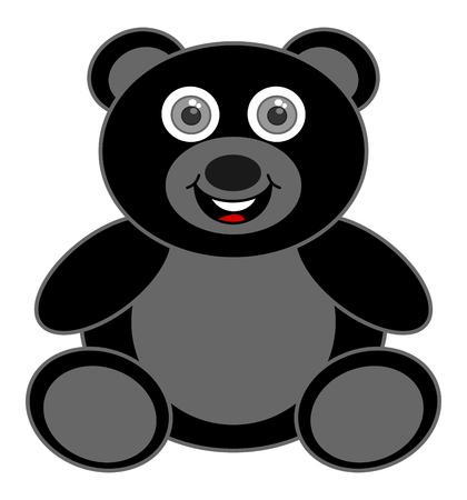 a happy black bear cub Illustration