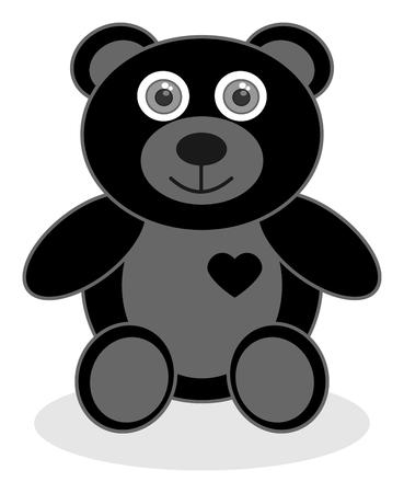 bear cub: a smiling black bear cub Illustration