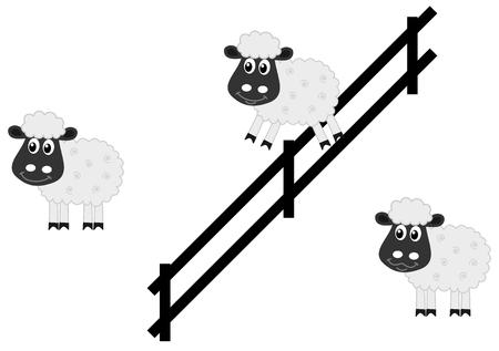 salto de valla: ovejas saltando una valla Vectores