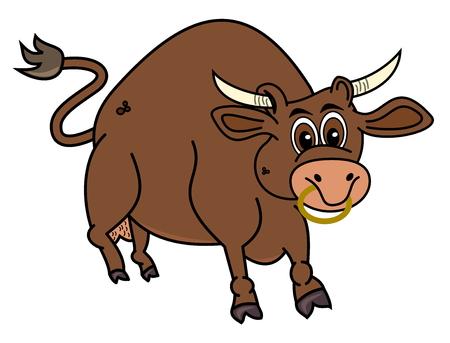 bull rings: a brown bull Illustration