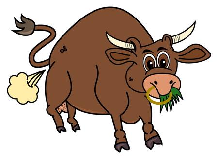 eats: a bio brown bull that eats grass Illustration