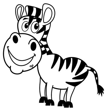 herbivorous animals: smiling zebra profile for coloring
