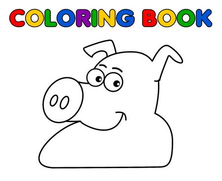 porker: a pig smiling for coloring