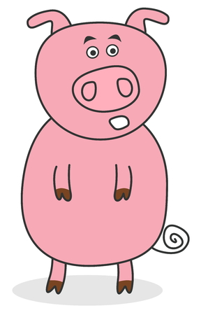 porker: surprised standing pig Illustration