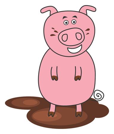 porker: a pig standing in mud