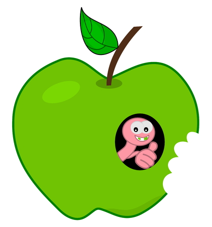 dientes sucios: gusano en una manzana ya crujir Vectores