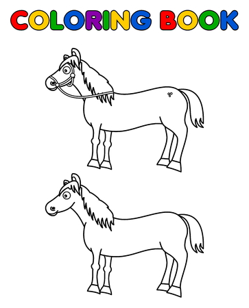 horse cartoon: horses for coloring Illustration